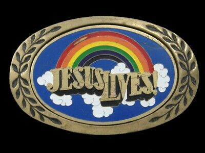 Rl01156 Vintage 1980 *Jesus Lives! (Rainbow)* Religious Solid Brass Belt Buckle