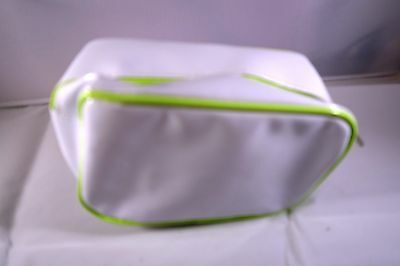 Clinique make up bag , white with green edging plastic New No tags