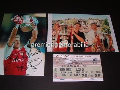 Arsenal Fc Tony Adams Signed (Printed) Fa Cup Photos + 2002 Testimonial