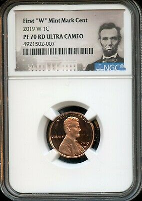 """2019 W 1c NGC PF 70 RD(Proof 70 Red) Ultra Cameo First """"W"""" Mint Mark Cent TA51"""