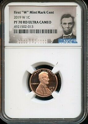 """2019 W 1c NGC PF 70 RD(Proof 70 Red) Ultra Cameo First """"W"""" Mint Mark Cent TA52"""