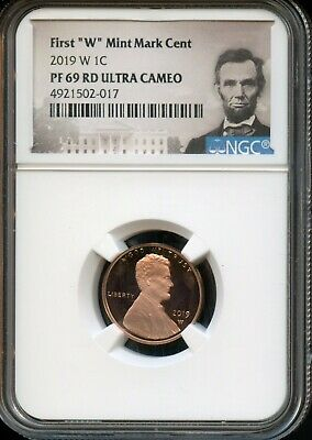 """2019 W 1c NGC PF 69 RD(Proof 69 Red) Ultra Cameo First """"W"""" Mint Mark Cent TA55"""