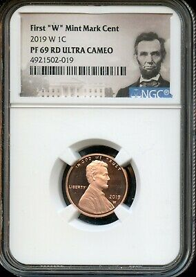 """2019 W 1c NGC PF 69 RD(Proof 69 Red) Ultra Cameo First """"W"""" Mint Mark Cent TA56"""