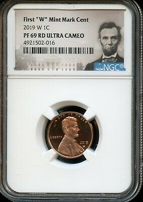 """2019 W 1c NGC PF 69 RD(Proof 69 Red) Ultra Cameo First """"W"""" Mint Mark Cent TA57"""