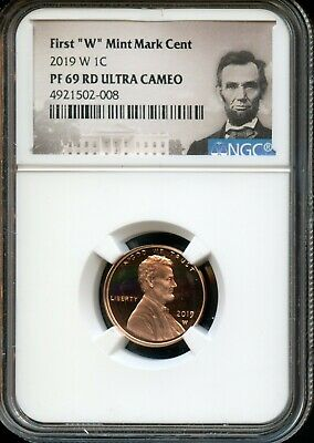 """2019 W 1c NGC PF 69 RD(Proof 69 Red) Ultra Cameo First """"W"""" Mint Mark Cent TA58"""