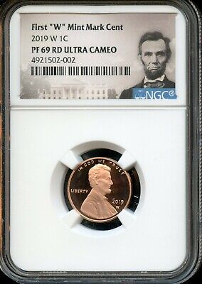 """2019 W 1c NGC PF 69 RD(Proof 69 Red) Ultra Cameo First """"W"""" Mint Mark Cent TA59"""