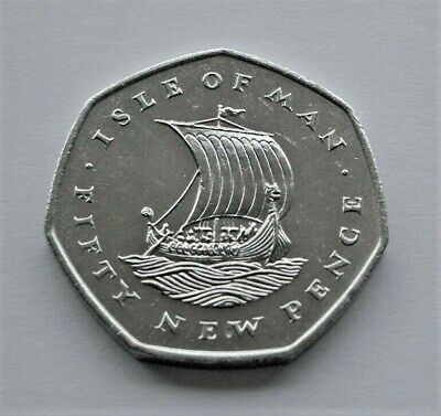 RARE 1973 ISLE OF MAN VIKING SHIP 50p COIN. FREE UK P&P MANX IoM FIFTY NEW PENCE