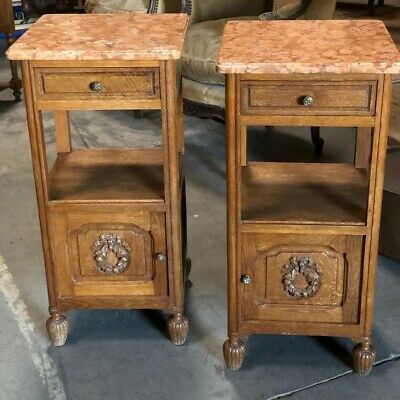 Pair Antique French Bedside Cupboards Or Tables