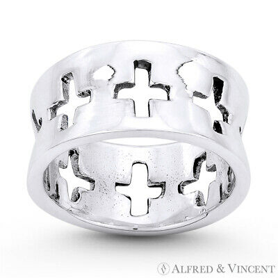 Eternity Latin Cross Christian Charm Ring Oxidized .925 Sterling Silver 9mm Band
