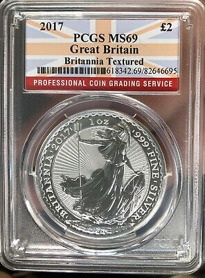 2017 Great Britain 2 Pounds 1 Oz Silver PCGS Certified MS 69 Britannia Textured
