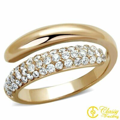 Classy Not Trashy Paved Wedding Set Design Clear Round Cut Cubic Zirconia Stainless Steel Womens Ring Size 6