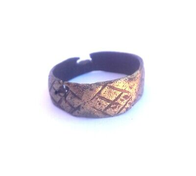 1 Vintage Ring  copper Jewelry Band Women Rings S size-6 M ethnic Antique old pc