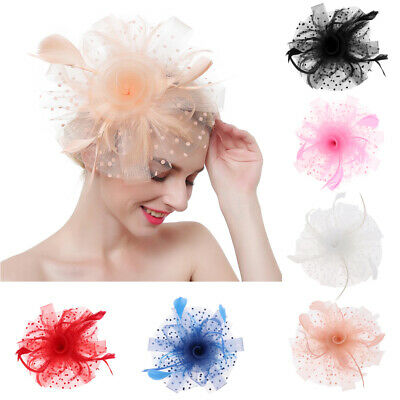 Ladies Race Cocktail Bridal Feather Fascinator 1920s  Pillbox Hat Clip