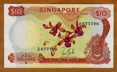 Singapore, 10 dollars, ND (1967), P-3 (3a), UNC > Orchids, First Date