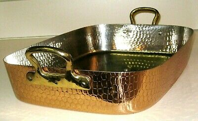 Vintage Stainless Hammered Solid Copper LARGE Casserole DISH Pan Brass Handles