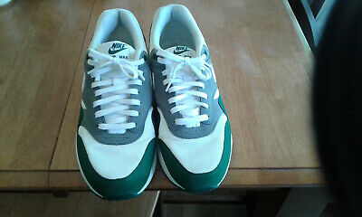 Used Nike Air Max 1 White Green Mens Shoes NO INSOLES Size 11.5