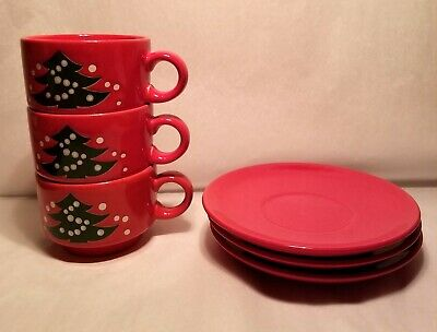 Set of 3 Waechtersbach Red Christmas Tree Cup and Saucer Germany