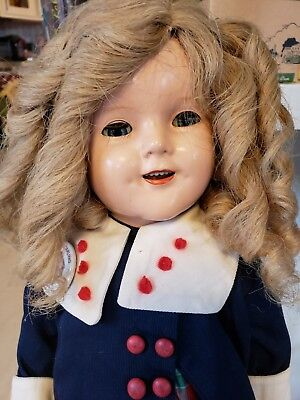 "Antique 1934 IDEAL SHIRLEY TEMPLE Doll 1930'S 18"" w/TEETH Coat & pin Composition"