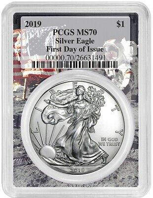 2019 1oz Silver Eagle PCGS MS70 First Day Issue - Space Frame