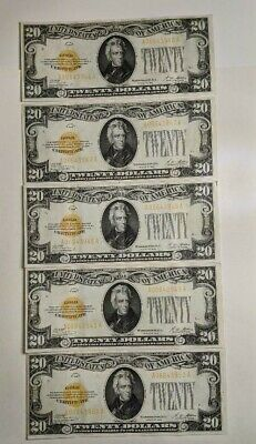 1928 $20 Small Gold Certificate Note RARE 5 Consecutive Serial Number's