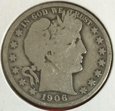 1906US Barber SILVER Half! Very Good! Old US Coin!