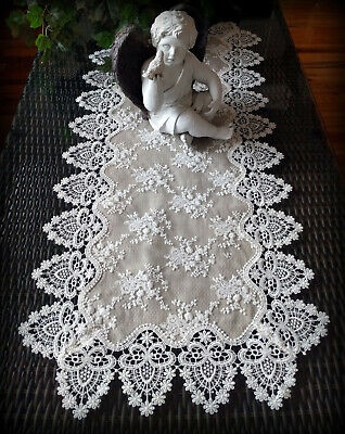 """Dresser Scarf Lace Table Runner 37"""" Doily Neutral Burlap Natural Taupe Antique"""