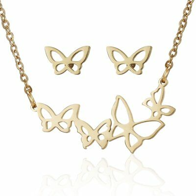 Fashion Gold Hollow Animal Insect Butterfly Earring Necklace Women Jewelry Set