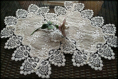 Lace Doilies Set of Two End Table Doily Neutral Burlap Victorian Taupe Place Mat