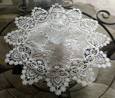 "Lace Doily 16"" Neutral Burlap Natural Taupe Antique Ivory Victorian"