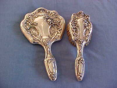 Antique Sterling Silver Vanity Brush And Mirror Ornate Art Nouveau Hairbrush