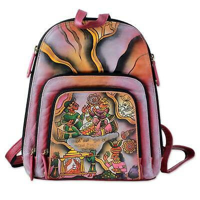 Hand Painted Leather Backpack Style Bag 'Royal Court' Scene NOVICA Art India