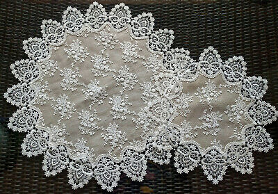 """Lace Doilies Set of 2 Table Topper Doily ( 24"""" & 16"""")  Neutral Burlap Taupe"""