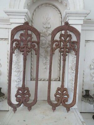 PAIR AMAZING Old Architectural Cast Iron Salvaged Arched METAL FENCE DECOR PIECE