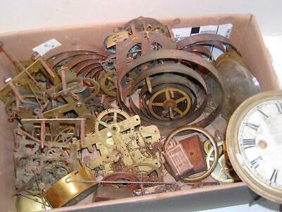 10 lbs. ANTIQUE CLOCK PARTS - Movements, Glass, Dials, hands, etc.