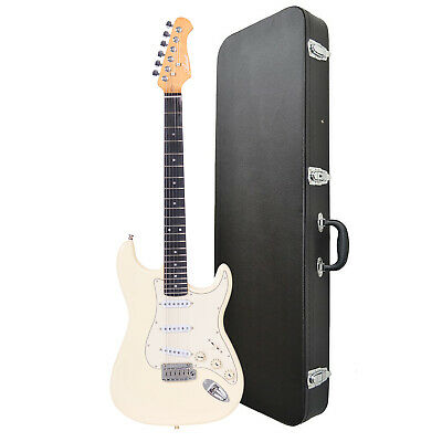 Artist ST62 Vintage White Electric Guitar + Black Case - New