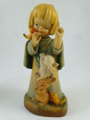 """Vintage Hand Carved Wood Figurine Anri Italy Bunny Child 5.75"""" Tall Statue Old"""