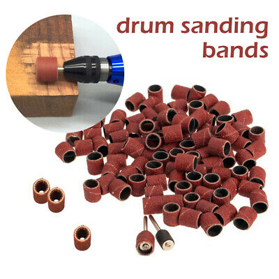 2 Mandrels Sandpaper Rotary Tool Kits 50x Grit 320 Drum Sanding Bands Sleeves