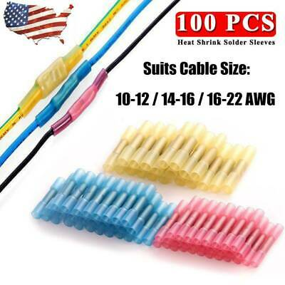 100pcs Waterproof Heat Shrink Terminals Butt Wire Connectors Yellow+Red+Blue Kit