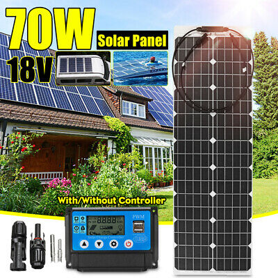 70W 18V Solar Panel Power Battery Charger Semi-flexible Car Boat+Controller