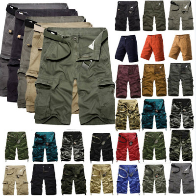 Men Shorts Cargo Pants Military Camo Combat Army Style Casual Work Short Trouser