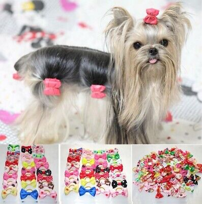 20 PCS  LOT Handmade Designer Pet Dog Accessories Grooming Hair Bows For Dogs UK