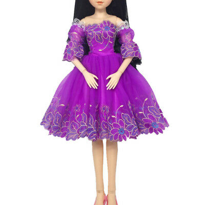 Handmade doll purple princess dress for 60cm 1/3 bjd dolls party daily clothes H