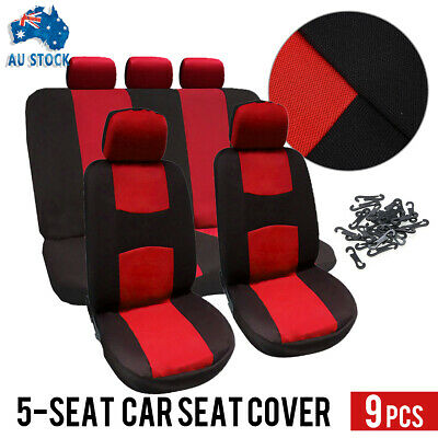 Red 9Pcs/Set Universal Car Seat Covers Front&Rear Seat Back Head Rest Protector