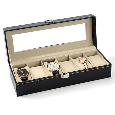 2/3/5/6 Slot Watch Box Leather Display Case Organizer Top Glass Jewelry Storage