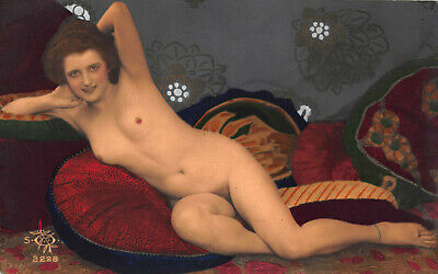 Original French naked nude woman lady risque hand tinted photo postcard SOL (4)