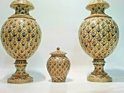 #islamic Pair Set Carved Tessellated Camel Bone Antique Jar Painted Bowl Rare