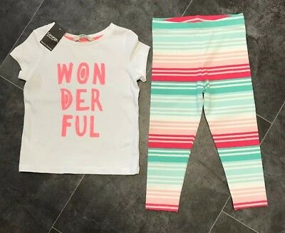 BNWT George Girls 2 Piece T Shirt & Leggings Set. Age 2-3 Years