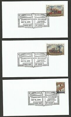 US 5378-5380 Transcontinental Railroad (set of 3) BWP FDC 2019