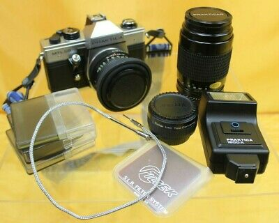 Praktica MTL50 SLR Film Camera Kit, 2 Lenses, Flash Unit, Case + more #HIN51JMH