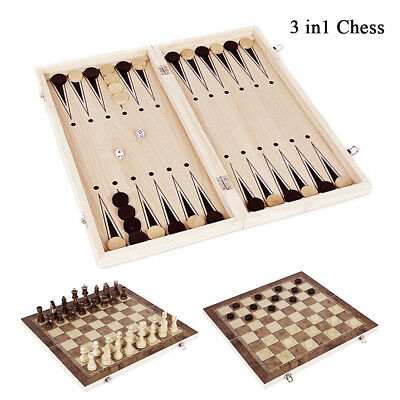 3 in 1 Large Chess Wooden Set Chessboard Pieces Wood Board Kids Game Learing